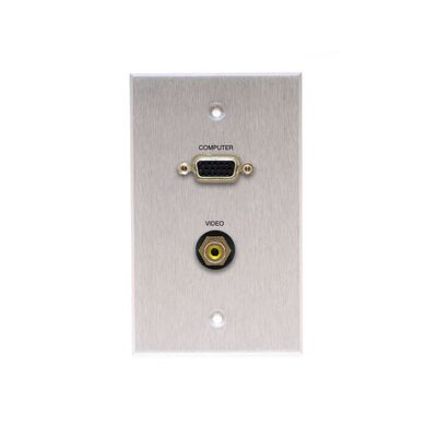 Comprehensive Single Gang Wall Plate in Kyde x Ivory (HD15, 1RCA- Passthru)