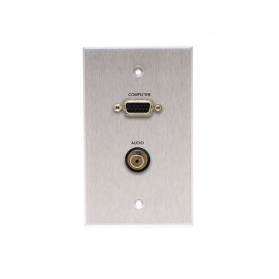 Comprehensive Single Gang Wall Plate (HD15, Stereo Mini Passthru)