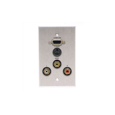 Comprehensive Wallplate with HD15, S-Video, and 3 RCA Connectors
