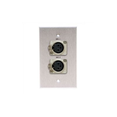Comprehensive Wallplate with 2 Latching XLR-Female Connectors