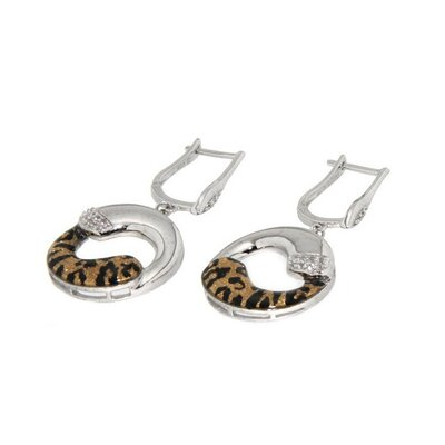 Pearlz Ocean Enamel Print Animal Sterling Silver Topaz Earrings