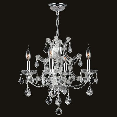 Lyre 4 Light Crystal Chandelier