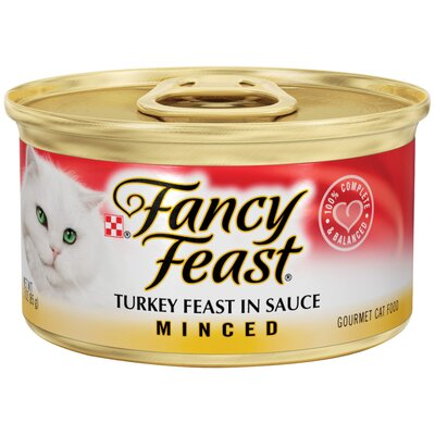 Fancy Feast Minced Turkey Wet Cat Food (3-oz can,case of 24)