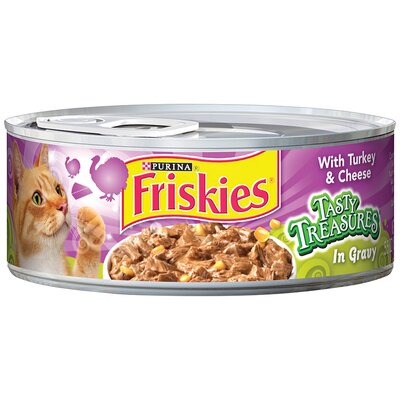 Friskies Tasty Treasures with Turkey and Cheese Wet Cat Food (5.5-oz can, case of 24)