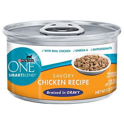 Purina One Smartblend Braised Cuts Chicken Wet Cat Food (3-oz, case of 24)
