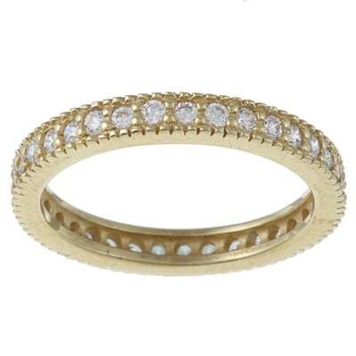 Zirconmania Gold Overlay Sterling Silver Cubic Zirconia Micro Pave Eternity Stackable Ring