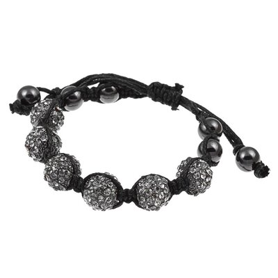 Pave Black Diamond Crystal Beaded Macrame Adjustable Bracelet