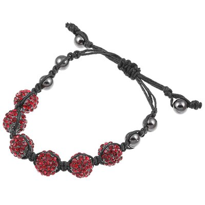 Pave Crystal Beaded Macrame Adjustable Bracelet
