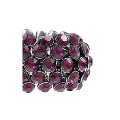 Zirconmania Gunmetal 5-Row Amethyst Crystal Stretch Bangl