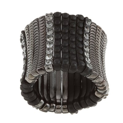Zirconmania Satin Black Crystal Stretch Ring