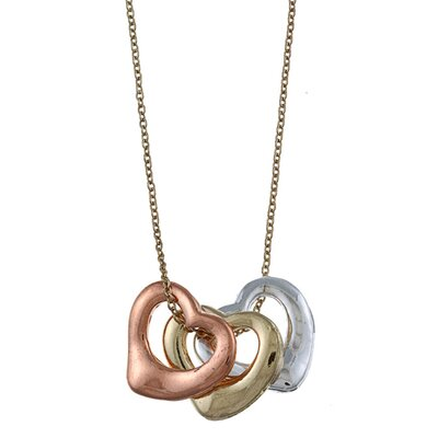 Zirconmania Multi-Tone Three Open Heart 'Love' Charm Necklace