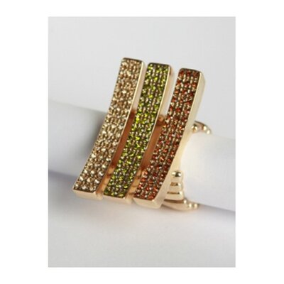 Zirconmania Goldtone Pave Crystal Elongated Bar Stretch Rings (Set of 3)