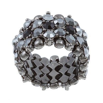 Zirconmania Gunmetal Crystal 5-Row Stretch Fashion Ring