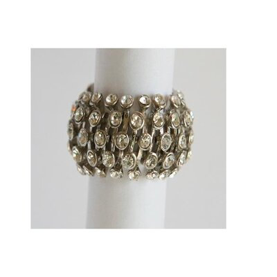 Silvertone Clear Crystal Honeycomb Stretch Fashion Ring