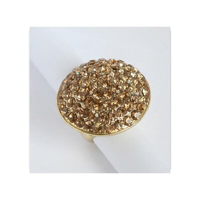 Goldtone Topaz Crystal Pave Oversized Stretch Ring