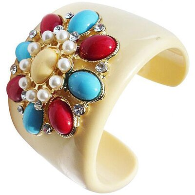 Zirconmania Cultured Pearl Flower Cuff Bangle