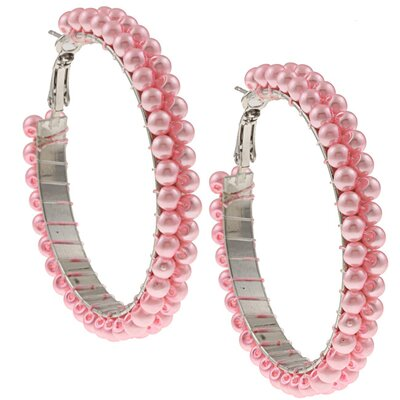 Double Row Faux Pearl Hoop Earrings