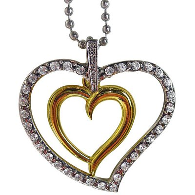 Two-tone Crystal Extra Large Heart Necklace