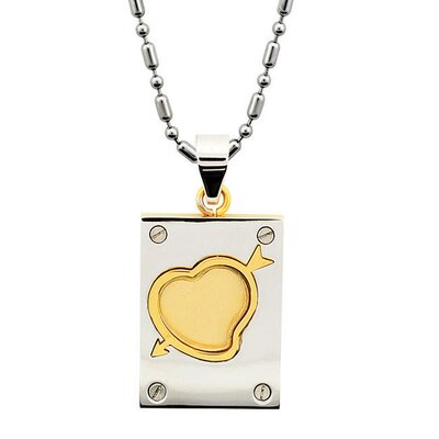 Two-tone Heart and Arrow Dog Tag Necklace