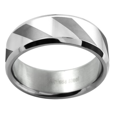 Men's Polished and Matte Lined Wedding Band Ring