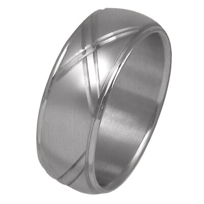 Trendbox Jewelry Men's Diamond Cut Wedding Band Ring