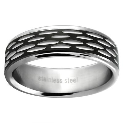 Trendbox Jewelry Stainless Steel Ladies Plate Etched Wedding Band Ring