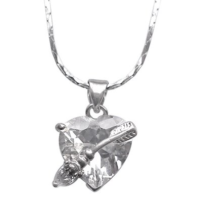 Cubic Zirconia Heart and Arrow Necklace Pendant