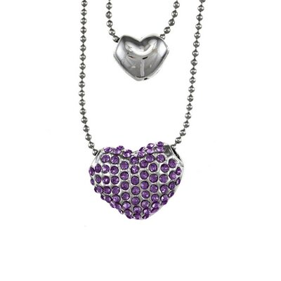 Trendbox Jewelry Overlay Pave Crystal Puff Heart Double Necklace