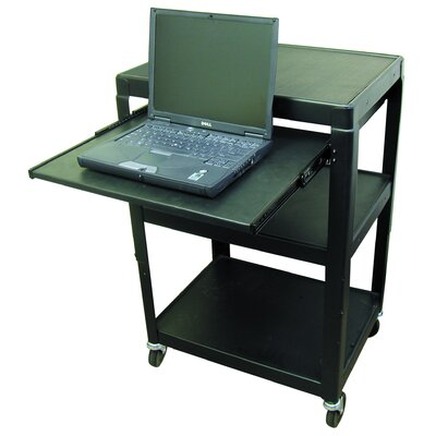 Buhl Adjustable Steel AV Cart with Pull-Out Shelf