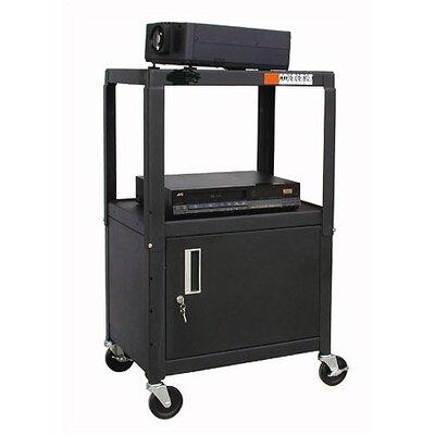 Buhl Adjustable Steel AV Cart with Locking Cabinet