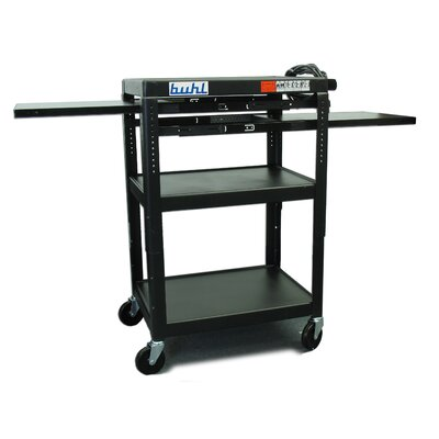 Buhl Height Adjustable AV Media Cart - Three Stationary Shelves / Two Pull-Out Shelves