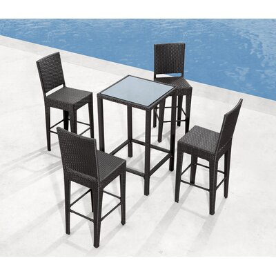 dCOR design Anguilla Outdoor Pub Table in Dark Brown