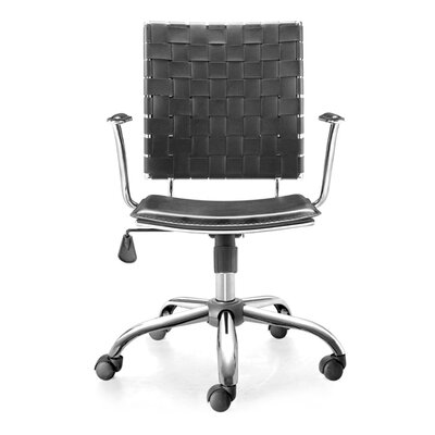 dCOR design Criss Cross Office Chair with Black Leatherette Seat and Back