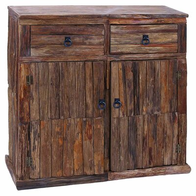Woodland Imports Unleveled Texture 2 Drawer Cabinet