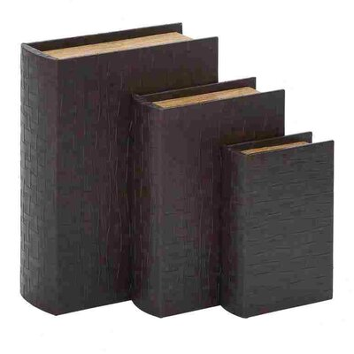 Woodland Imports Wood Leather Boxes (Set of 3)