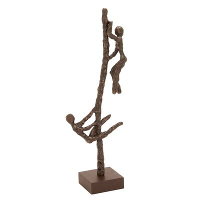 Woodland Imports Table Top Aluminum Tree and Men Sculpture