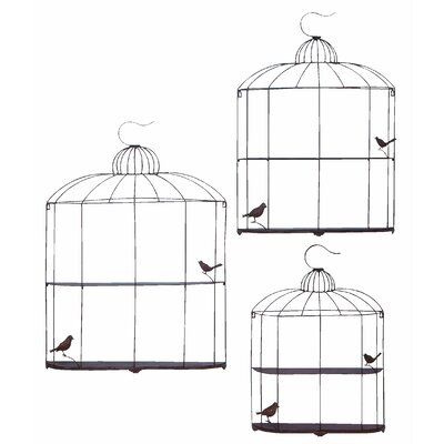 Woodland Imports Bird Cage Decor Shelf (Set of 3)