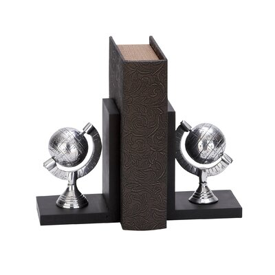 Woodland Imports Aluminum Globe Bookends (Set of 2)