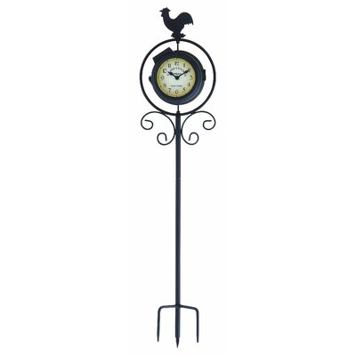 Woodland Imports Round Metal Clock Thermometer