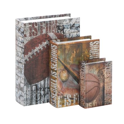 Woodland Imports Library Storage Books Wood Canvas Book Box (Set of 3)