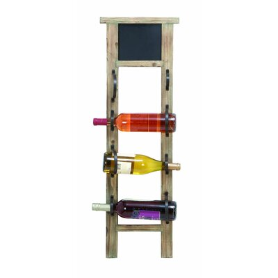 Woodland Imports Chalkboard 4 Bottle Wall Mounted Wine Rack