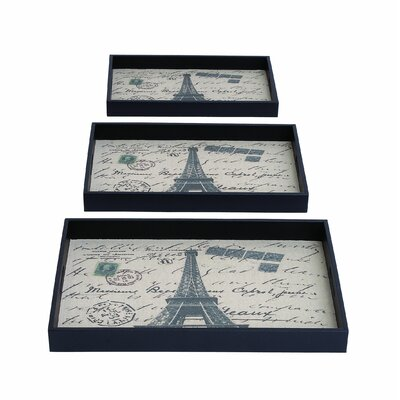 Woodland Imports 3 Piece Paris Themed Rectangular Serving Tray Set