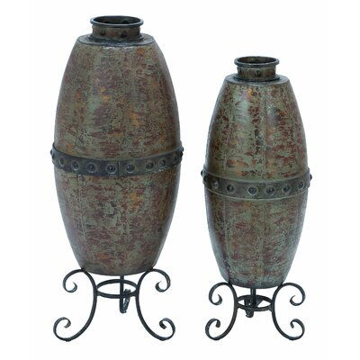 Woodland Imports Rustic Metal Vase (Set of 2)