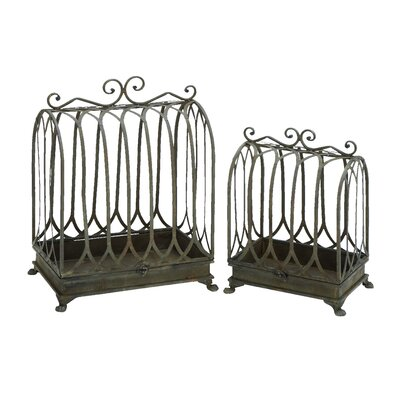 Woodland Imports Metal Planter (Set of 2)