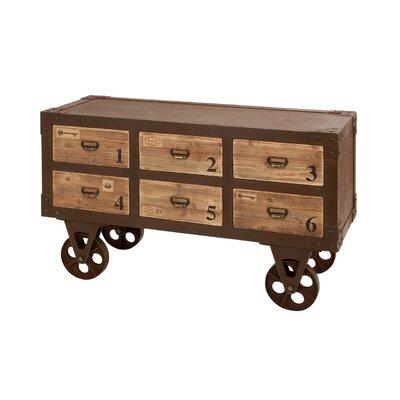 Woodland Imports Metal Wood 6 Drawer Chest