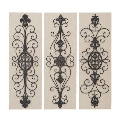 Woodland Imports Wood and Metal Wall Decor (Set of 3)