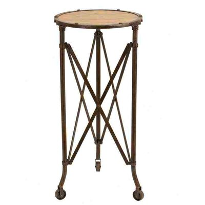 Woodland Imports Metal and Wood Accent End Table