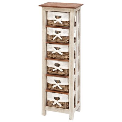 <strong>Woodland Imports</strong> Shabby Rattan Wood 6 Drawer Cabinet