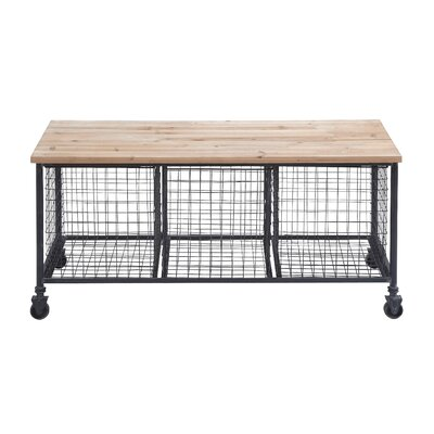 Woodland imports metal storage bench with basket reviews wayfair Bench with baskets