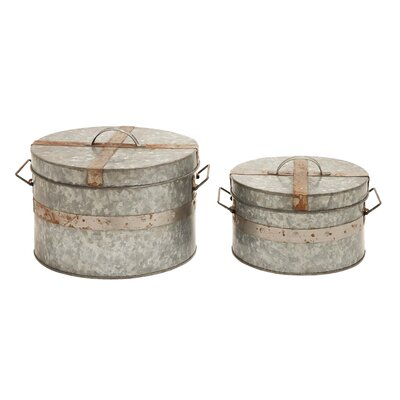 Woodland Imports Traditional Round Box (Set of 2)
